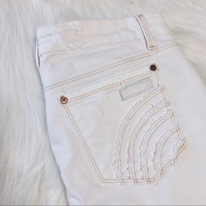 Joe's Jeans White Distressed Flared Rocker Jeans